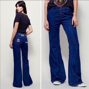 Free People Heartbreaker Embroidered Flare Jeans